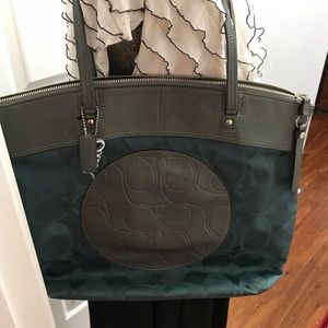 Blue and grey coach bag